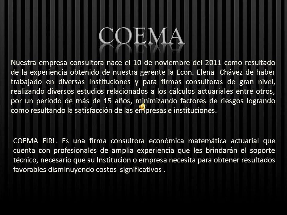 COEMA EIRL. Es una firma consultora económica matemática actuarial que cuenta con profesionales de amplia experiencia que les brindarán el soporte téc