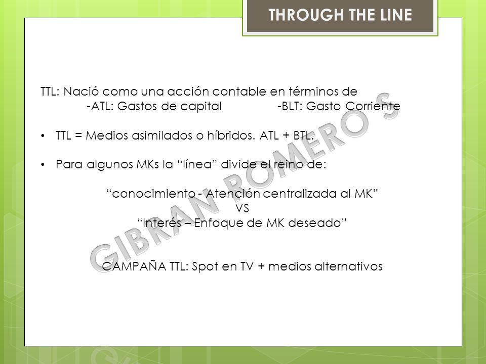 BELOW THE LINE o BTL = MK de guerrilla: Empleo de formas no masivas de comunicación dirigidas a un mercado especifico.