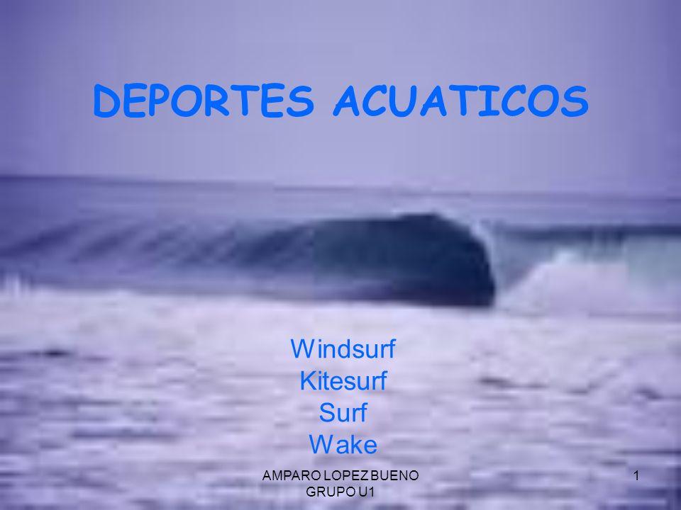 AMPARO LOPEZ BUENO GRUPO U1 2 WINDSURF El Windsurf es un deporte náutico que consiste en desplazarse sobre una tabla provista de una vela.