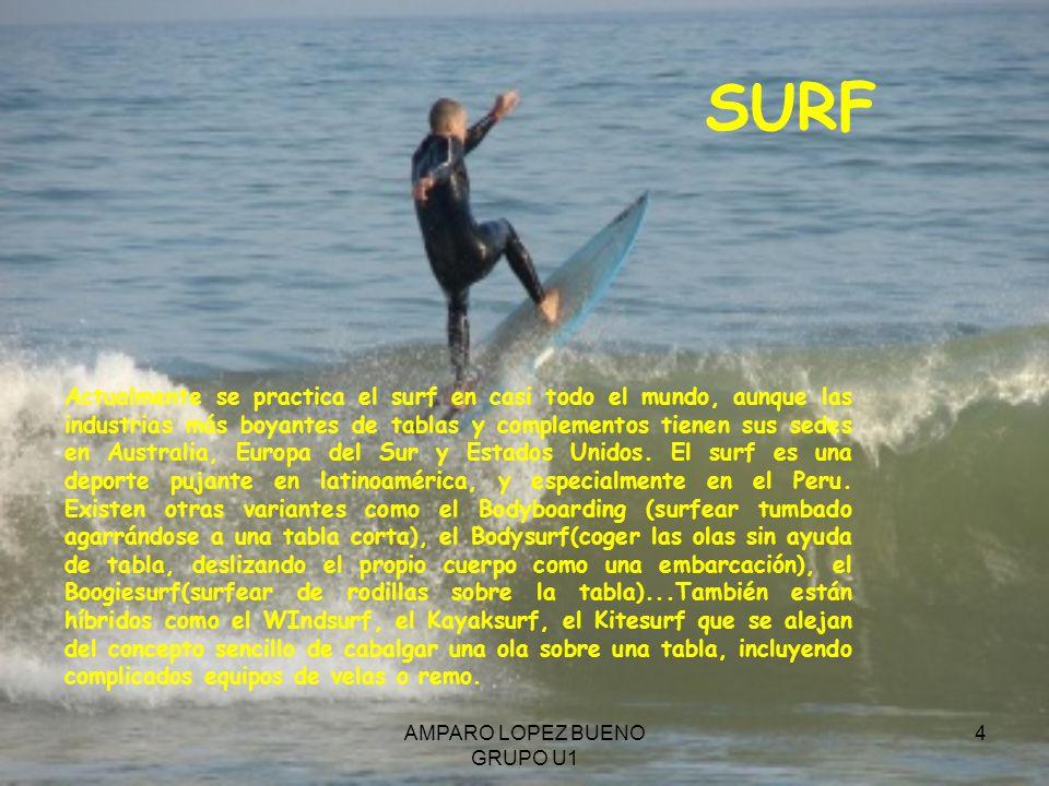 AMPARO LOPEZ BUENO GRUPO U1 4 SURF Actualmente se practica el surf en casi todo el mundo, aunque las industrias más boyantes de tablas y complementos