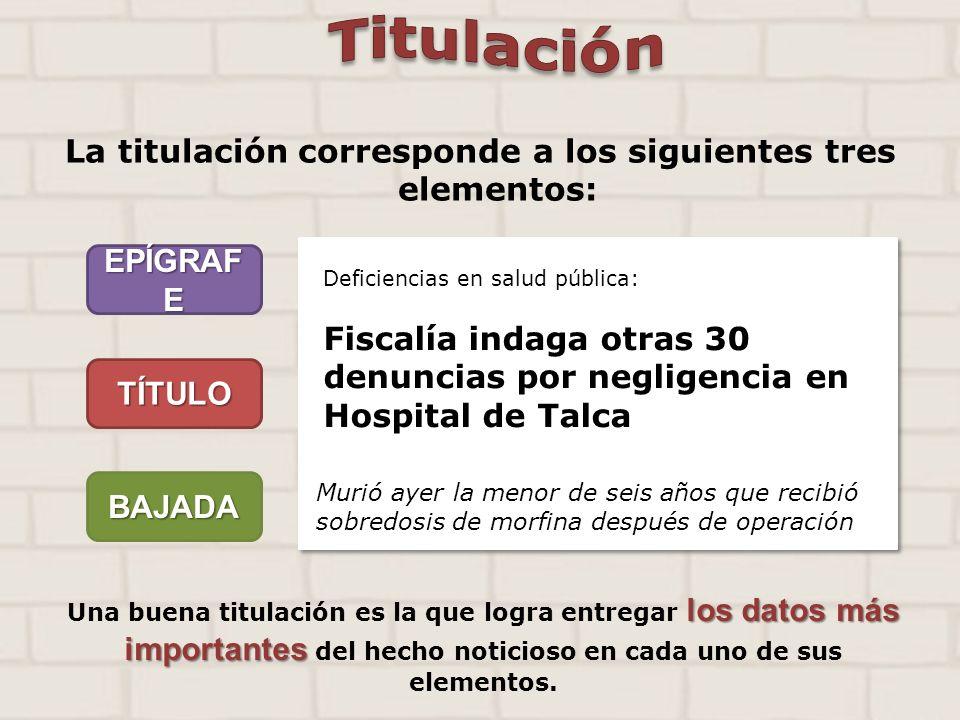La titulación corresponde a los siguientes tres elementos: EPÍGRAF E TÍTULO BAJADA Deficiencias en salud pública: Fiscalía indaga otras 30 denuncias p
