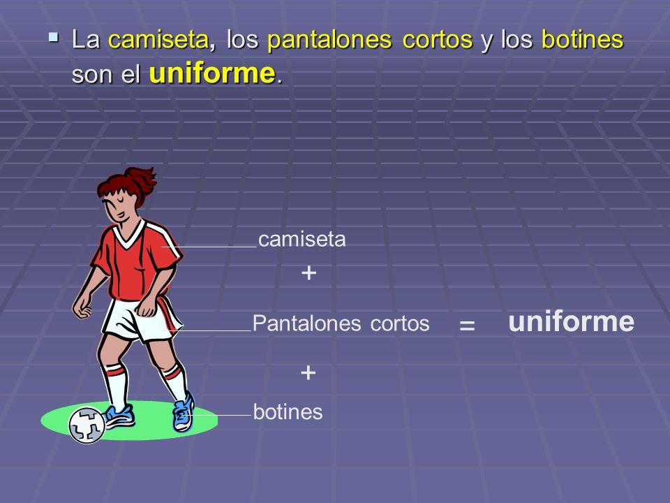 La camiseta, los pantalones cortos y los botines son el uniforme. La camiseta, los pantalones cortos y los botines son el uniforme. camiseta Pantalone