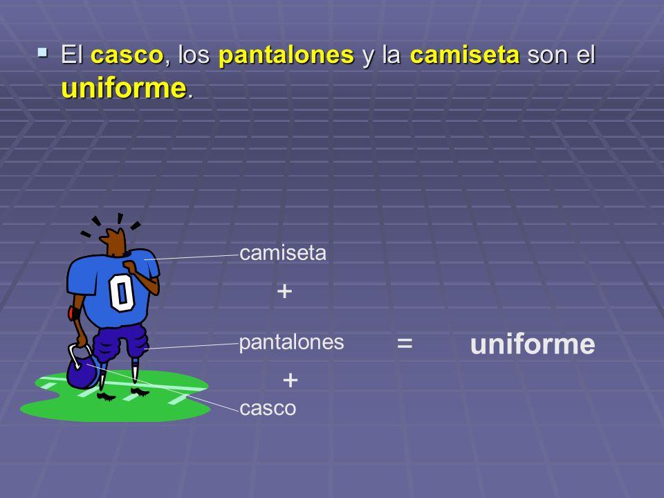 El casco, los pantalones y la camiseta son el uniforme. El casco, los pantalones y la camiseta son el uniforme. casco pantalones camiseta + + =uniform