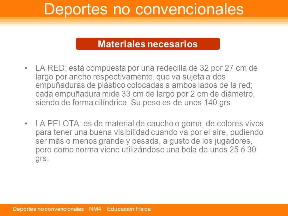 Deportes no convencionales NM4 Educación Física Deportes no convencionales LA RED: está compuesta por una redecilla de 32 por 27 cm de largo por ancho