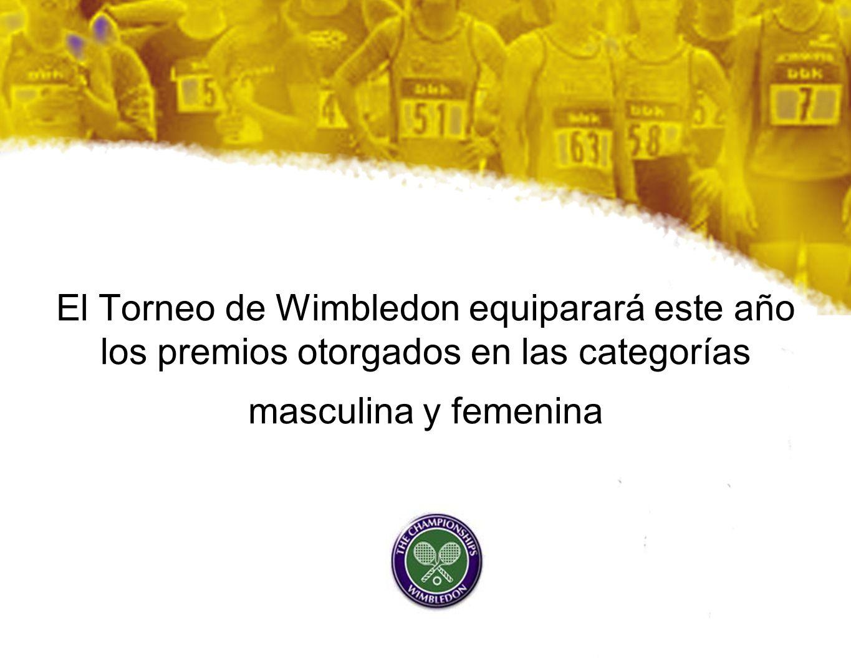 El Torneo de Wimbledon equiparará este año los premios otorgados en las categorías masculina y femenina