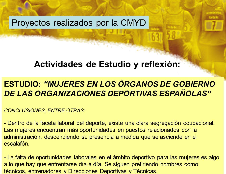 Proyectos realizados por la CMYD ESTUDIO: MUJERES EN LOS ÓRGANOS DE GOBIERNO DE LAS ORGANIZACIONES DEPORTIVAS ESPAÑOLAS CONCLUSIONES, ENTRE OTRAS: - D