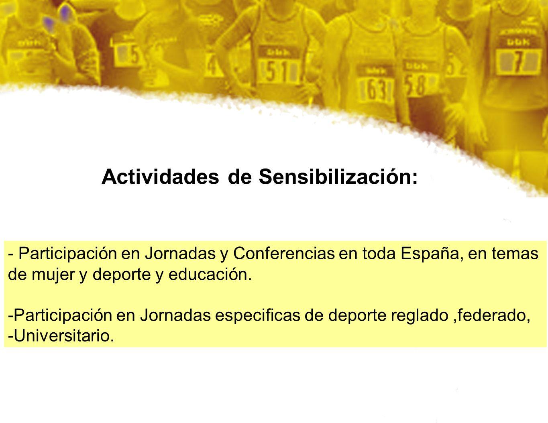 Actividades de Sensibilización: - Participación en Jornadas y Conferencias en toda España, en temas de mujer y deporte y educación. -Participación en