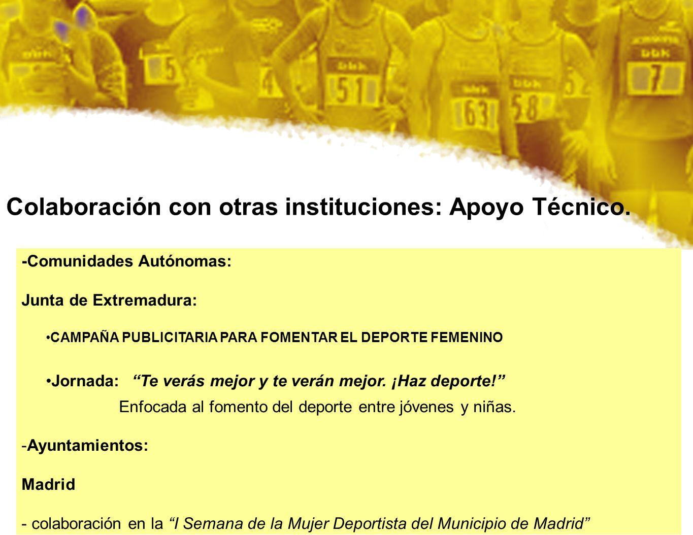 Colaboración con otras instituciones: Apoyo Técnico. -Comunidades Autónomas: Junta de Extremadura: CAMPAÑA PUBLICITARIA PARA FOMENTAR EL DEPORTE FEMEN