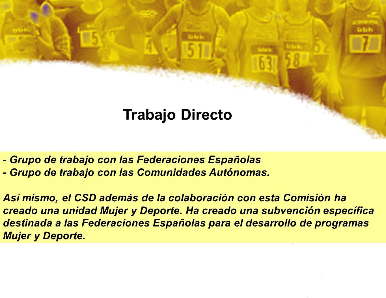 Trabajo Directo - Grupo de trabajo con las Federaciones Españolas - Grupo de trabajo con las Comunidades Autónomas. Así mismo, el CSD además de la col