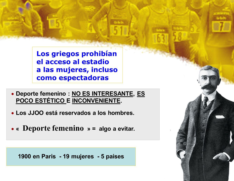 1900 en Paris - 19 mujeres - 5 paises Deporte femenino : NO ES INTERESANTE, ES POCO ESTÉTICO E INCONVENIENTE. Los JJOO está reservados a los hombres.