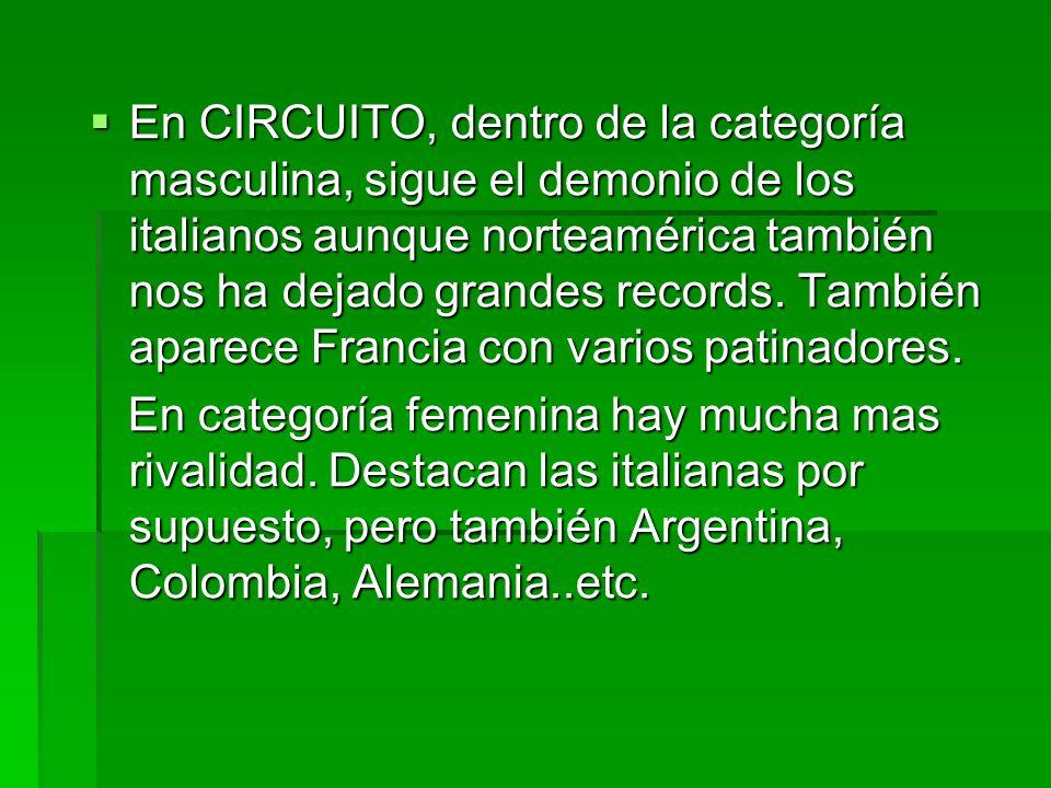 En CIRCUITO, dentro de la categoría masculina, sigue el demonio de los italianos aunque norteamérica también nos ha dejado grandes records. También ap
