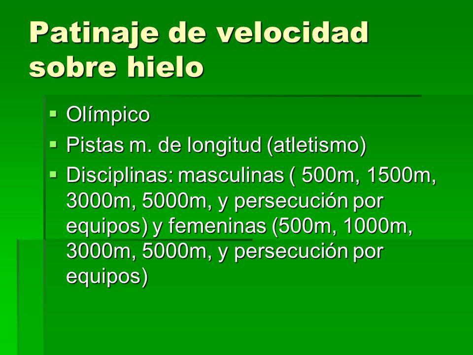 Patinaje de velocidad sobre hielo Olímpico Olímpico Pistas m. de longitud (atletismo) Pistas m. de longitud (atletismo) Disciplinas: masculinas ( 500m