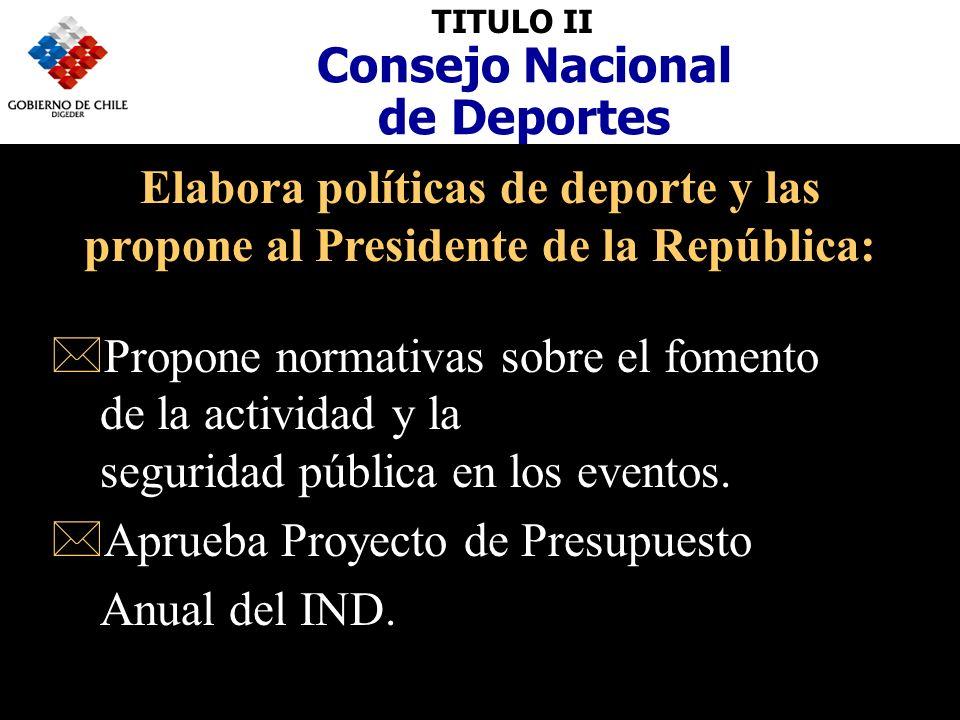 TITULO II Consejo Nacional de Deportes Elabora políticas de deporte y las propone al Presidente de la República: *Propone normativas sobre el fomento de la actividad y la seguridad pública en los eventos.