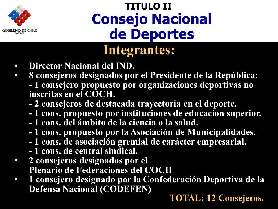TITULO II Consejo Nacional de Deportes Integrantes: Director Nacional del IND.