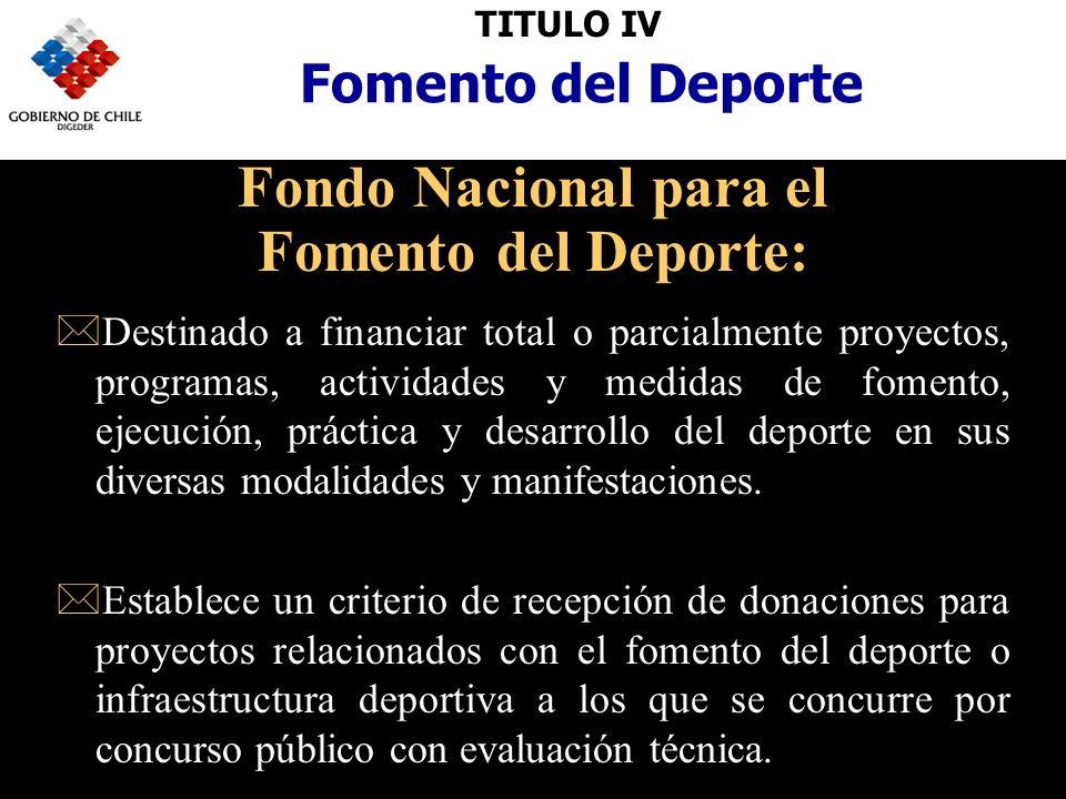 TITULO IV Fomento del Deporte Fondo Nacional para el Fomento del Deporte: *Destinado a financiar total o parcialmente proyectos, programas, actividades y medidas de fomento, ejecución, práctica y desarrollo del deporte en sus diversas modalidades y manifestaciones.