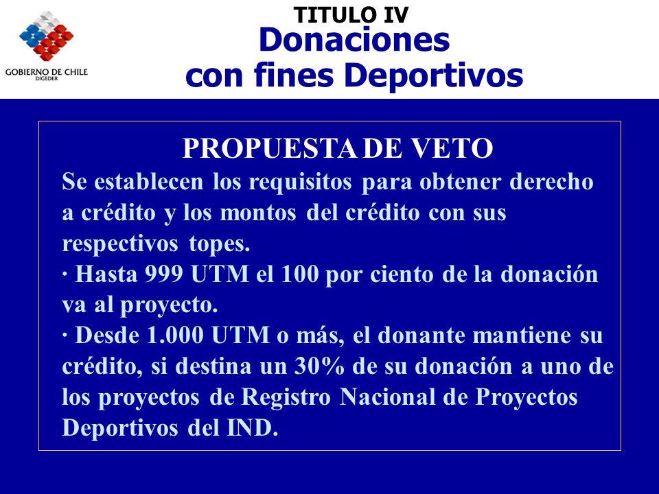TITULO IV Donaciones con fines Deportivos PROPUESTA DE VETO Se establecen los requisitos para obtener derecho a crédito y los montos del crédito con sus respectivos topes.