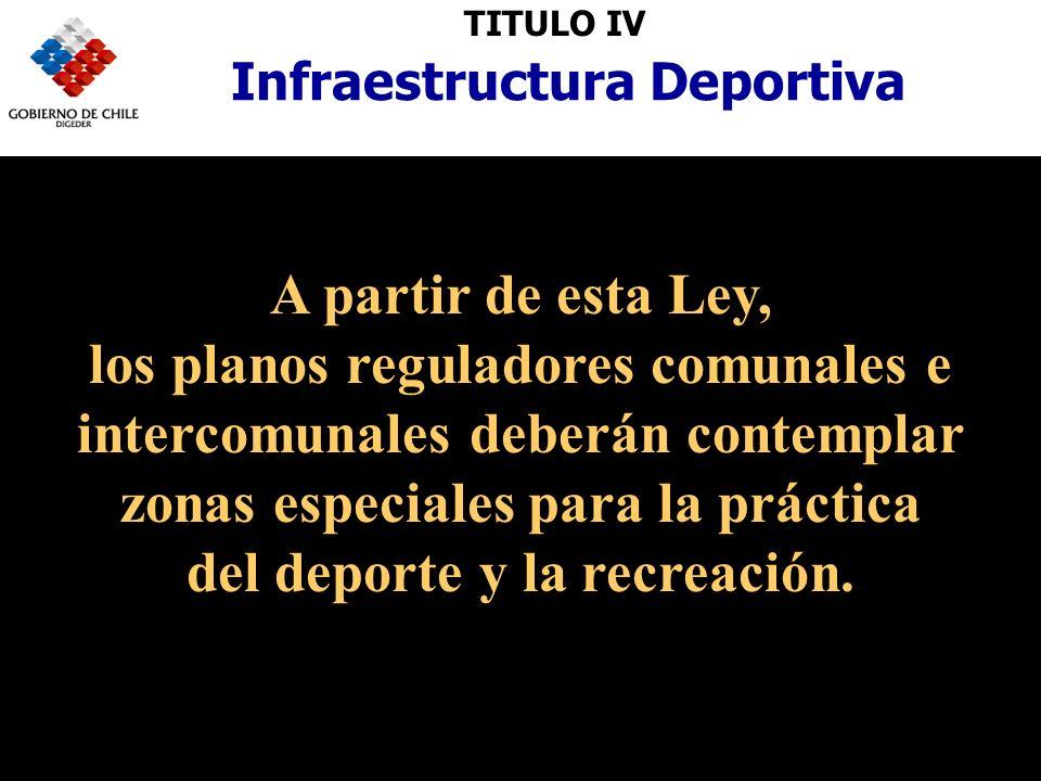TITULO IV Infraestructura Deportiva A partir de esta Ley, los planos reguladores comunales e intercomunales deberán contemplar zonas especiales para la práctica del deporte y la recreación.