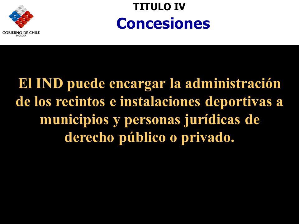 TITULO IVConcesiones El IND puede encargar la administración de los recintos e instalaciones deportivas a municipios y personas jurídicas de derecho público o privado.