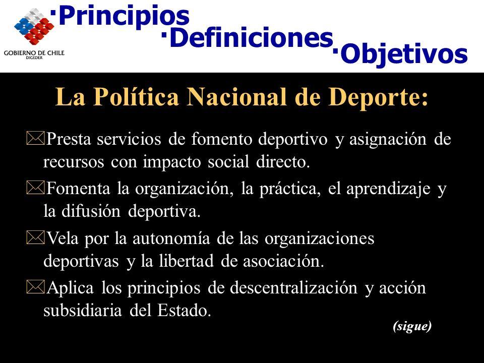 ·Definiciones ·Objetivos La Política Nacional de Deporte: *Presta servicios de fomento deportivo y asignación de recursos con impacto social directo.