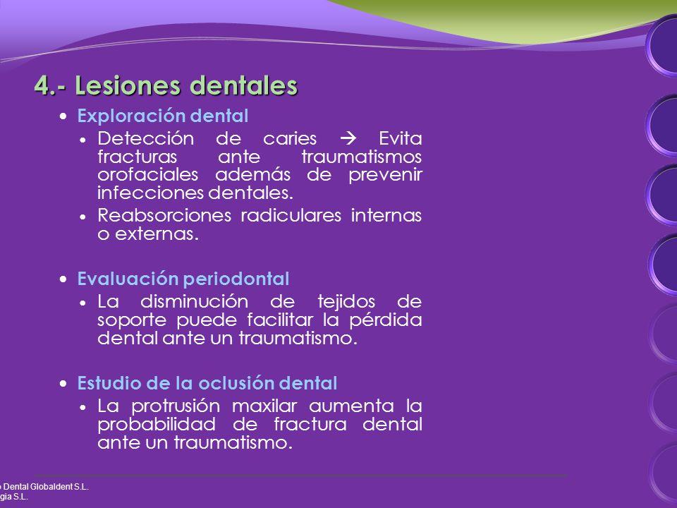 4.- Lesiones dentales Exploración dental Detección de caries Evita fracturas ante traumatismos orofaciales además de prevenir infecciones dentales.