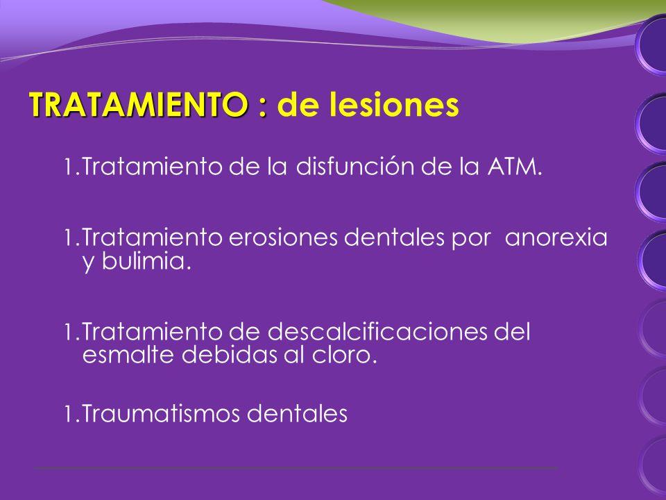 TRATAMIENTO : TRATAMIENTO : de lesiones 1. Tratamiento de la disfunción de la ATM.