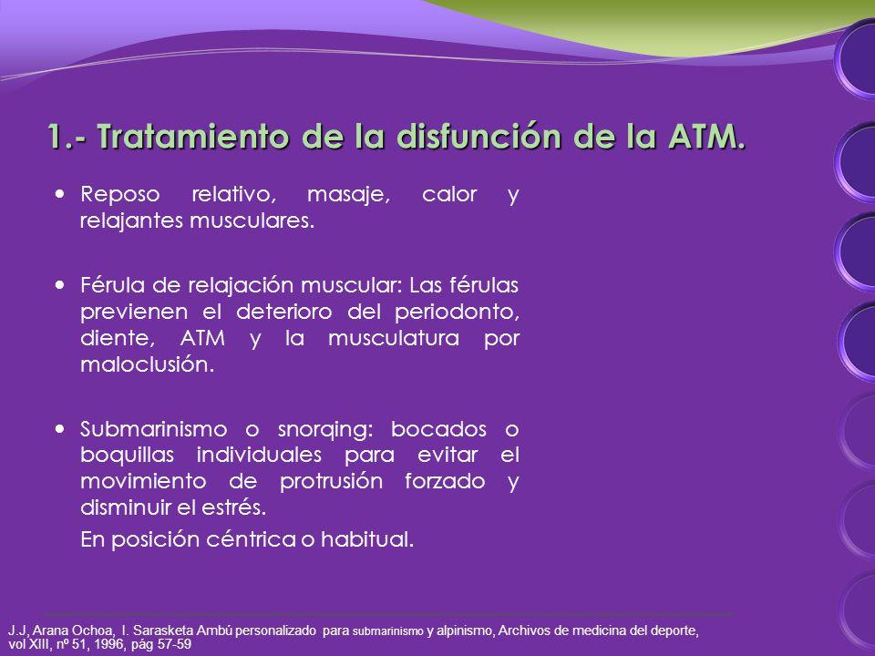 1.- Tratamiento de la disfunción de la ATM. Reposo relativo, masaje, calor y relajantes musculares.