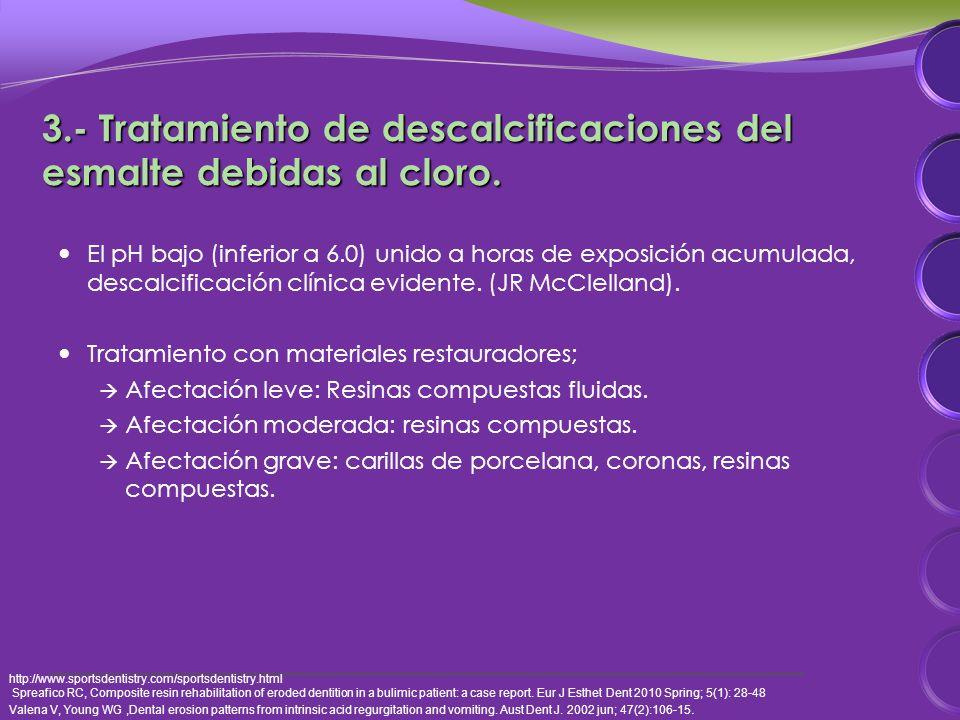 3.- Tratamiento de descalcificaciones del esmalte debidas al cloro.