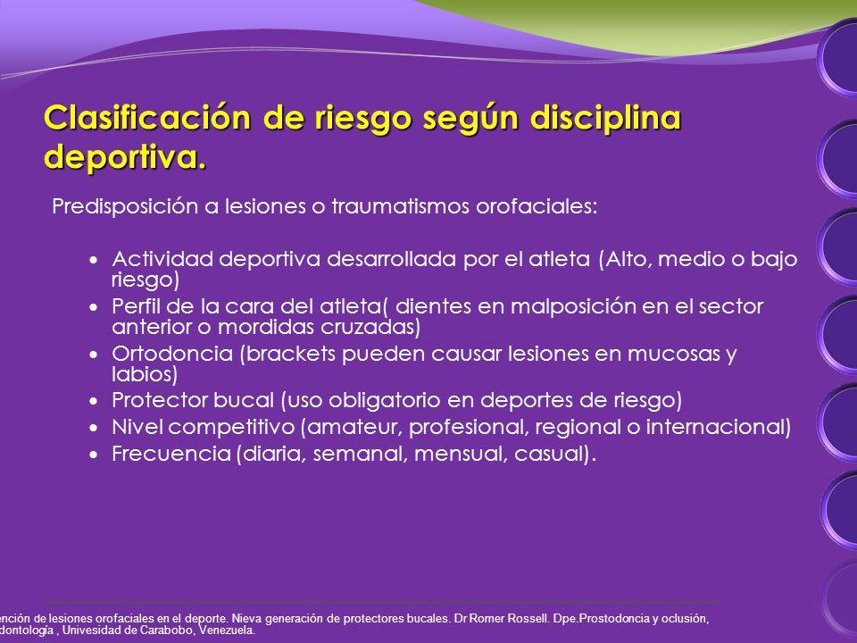 Clasificación de riesgo según disciplina deportiva.