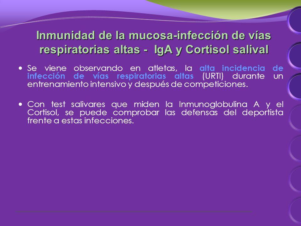 Inmunidad de la mucosa-infección de vías respiratorias altas - IgA y Cortisol salival Se viene observando en atletas, la alta incidencia de infección de vías respiratorias altas (URTI) durante un entrenamiento intensivo y después de competiciones.