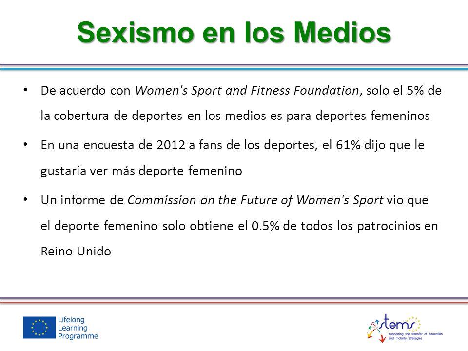 De acuerdo con Women s Sport and Fitness Foundation, solo el 5% de la cobertura de deportes en los medios es para deportes femeninos En una encuesta de 2012 a fans de los deportes, el 61% dijo que le gustaría ver más deporte femenino Un informe de Commission on the Future of Women s Sport vio que el deporte femenino solo obtiene el 0.5% de todos los patrocinios en Reino Unido Sexismo en los Medios