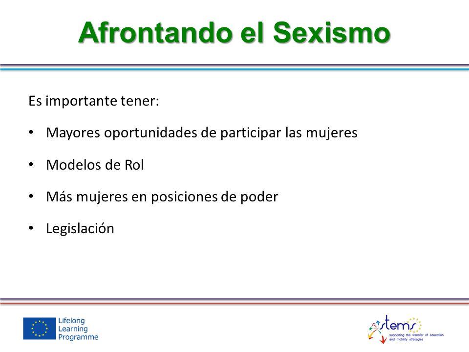 Es importante tener: Mayores oportunidades de participar las mujeres Modelos de Rol Más mujeres en posiciones de poder Legislación Afrontando el Sexismo