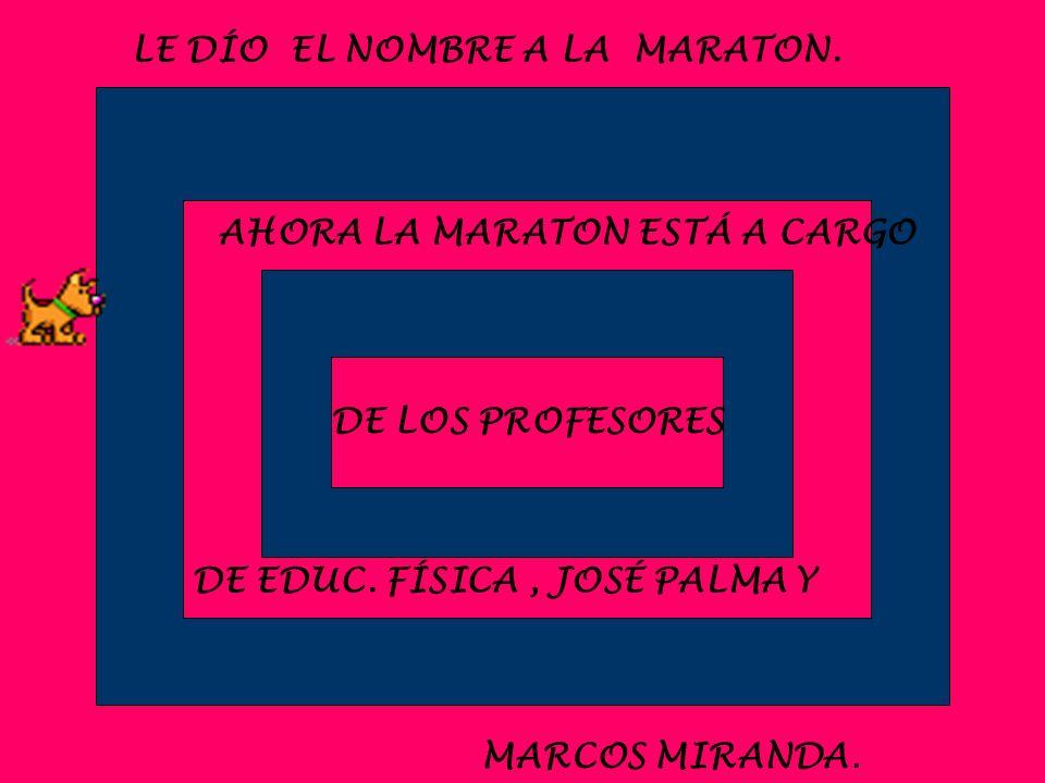 DE LOS PROFESORES LE DÍO EL NOMBRE A LA MARATON. AHORA LA MARATON ESTÁ A CARGO DE EDUC. FÍSICA, JOSÉ PALMA Y MARCOS MIRANDA.
