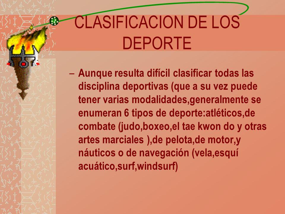 CLASIFICACION DE LOS DEPORTE – Aunque resulta difícil clasificar todas las disciplina deportivas (que a su vez puede tener varias modalidades,generalm