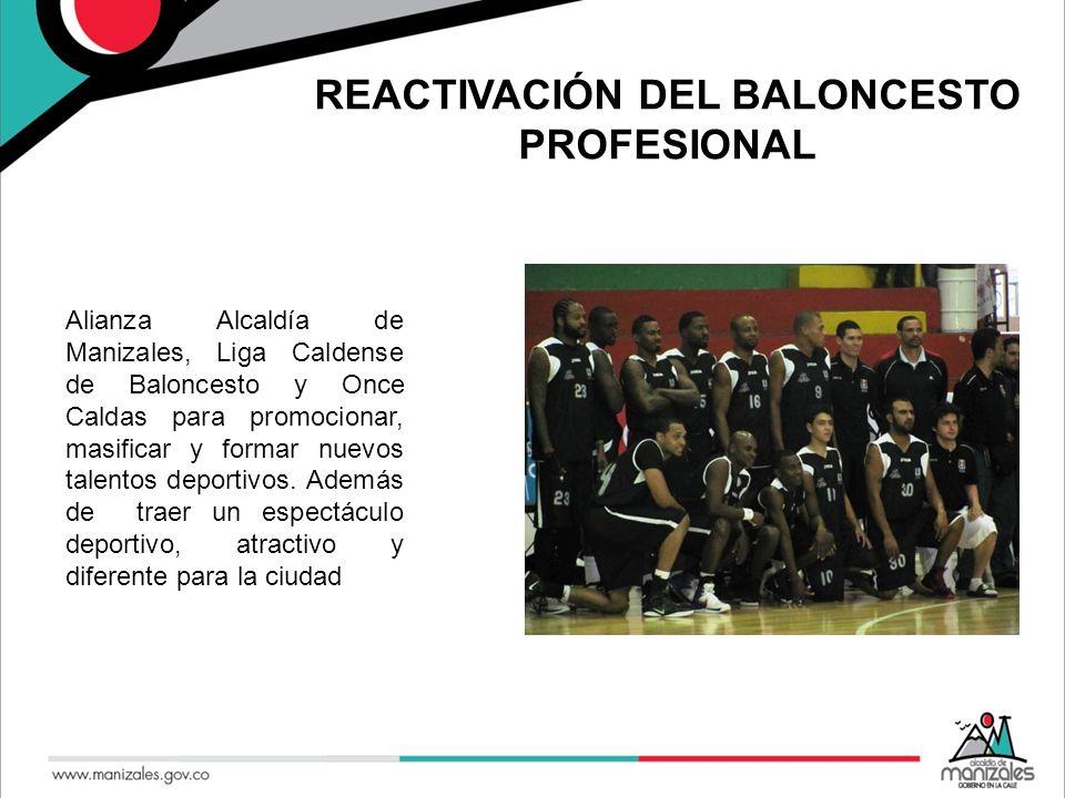 REACTIVACIÓN DEL BALONCESTO PROFESIONAL Alianza Alcaldía de Manizales, Liga Caldense de Baloncesto y Once Caldas para promocionar, masificar y formar