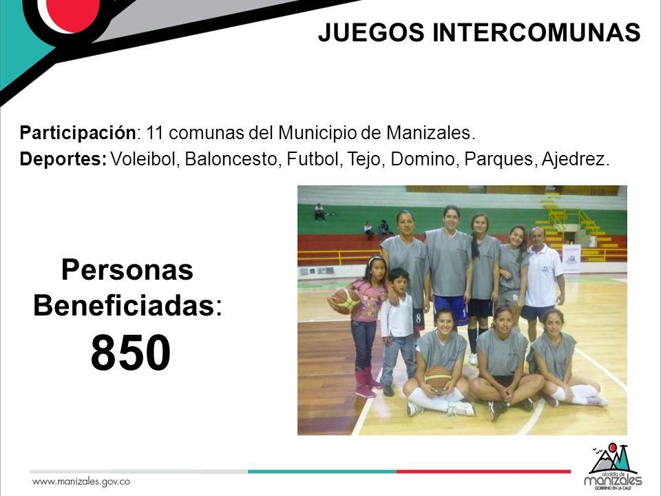 JUEGOS INTERCOMUNAS Participación: 11 comunas del Municipio de Manizales. Deportes: Voleibol, Baloncesto, Futbol, Tejo, Domino, Parques, Ajedrez. Pers