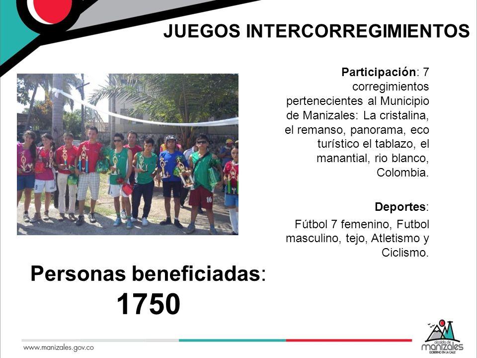 JUEGOS INTERCORREGIMIENTOS Participación: 7 corregimientos pertenecientes al Municipio de Manizales: La cristalina, el remanso, panorama, eco turístic
