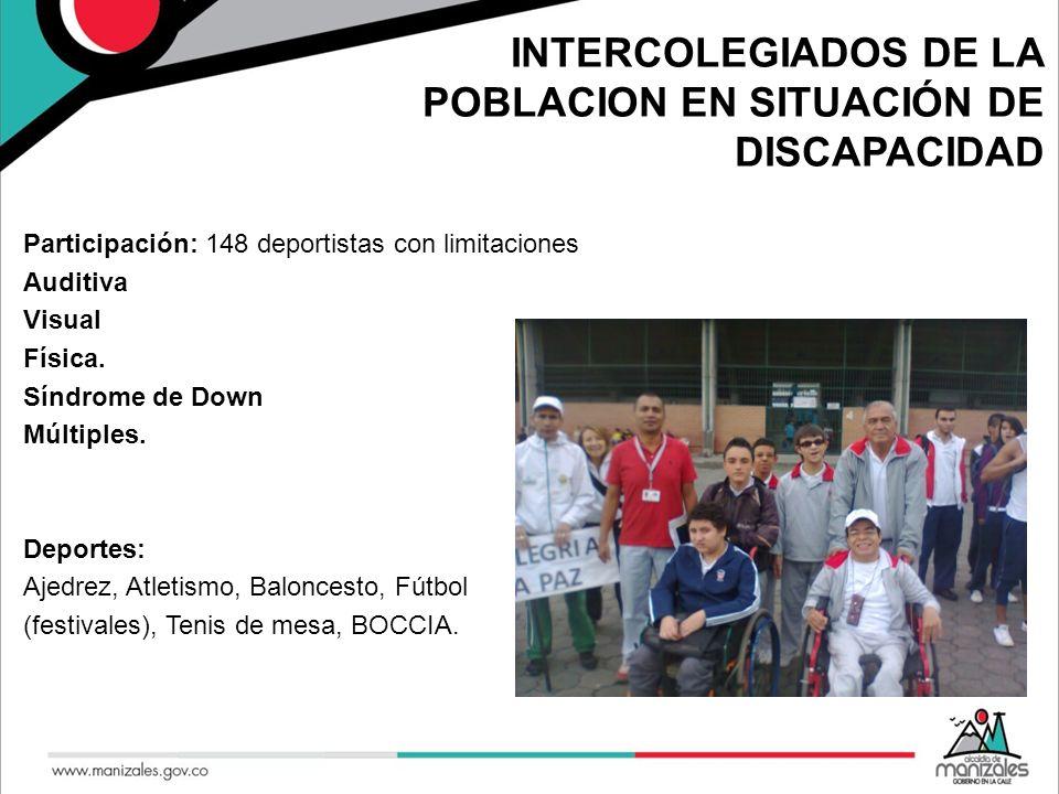 INTERCOLEGIADOS DE LA POBLACION EN SITUACIÓN DE DISCAPACIDAD Participación: 148 deportistas con limitaciones Auditiva Visual Física. Síndrome de Down