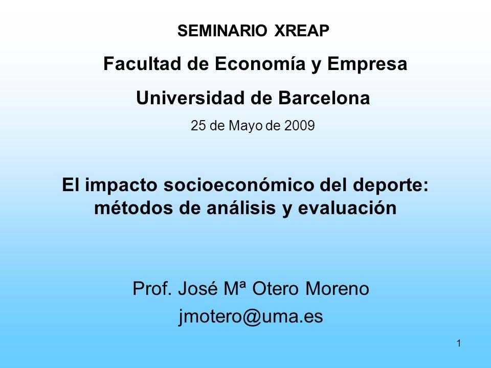 1 El impacto socioeconómico del deporte: métodos de análisis y evaluación Prof.