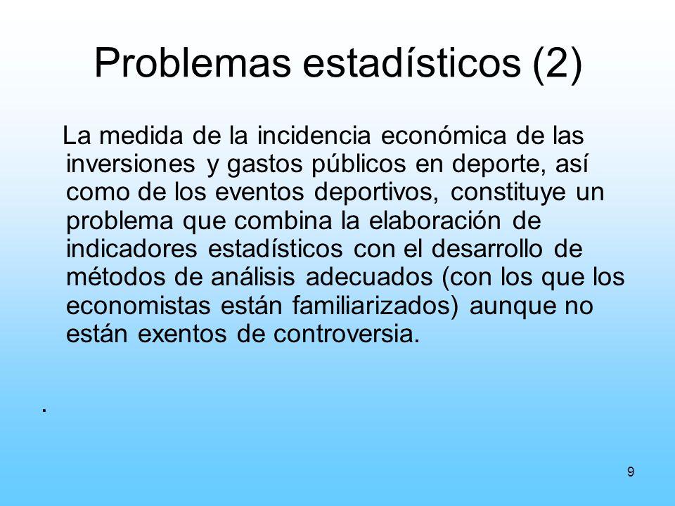 9 Problemas estadísticos (2) La medida de la incidencia económica de las inversiones y gastos públicos en deporte, así como de los eventos deportivos, constituye un problema que combina la elaboración de indicadores estadísticos con el desarrollo de métodos de análisis adecuados (con los que los economistas están familiarizados) aunque no están exentos de controversia..