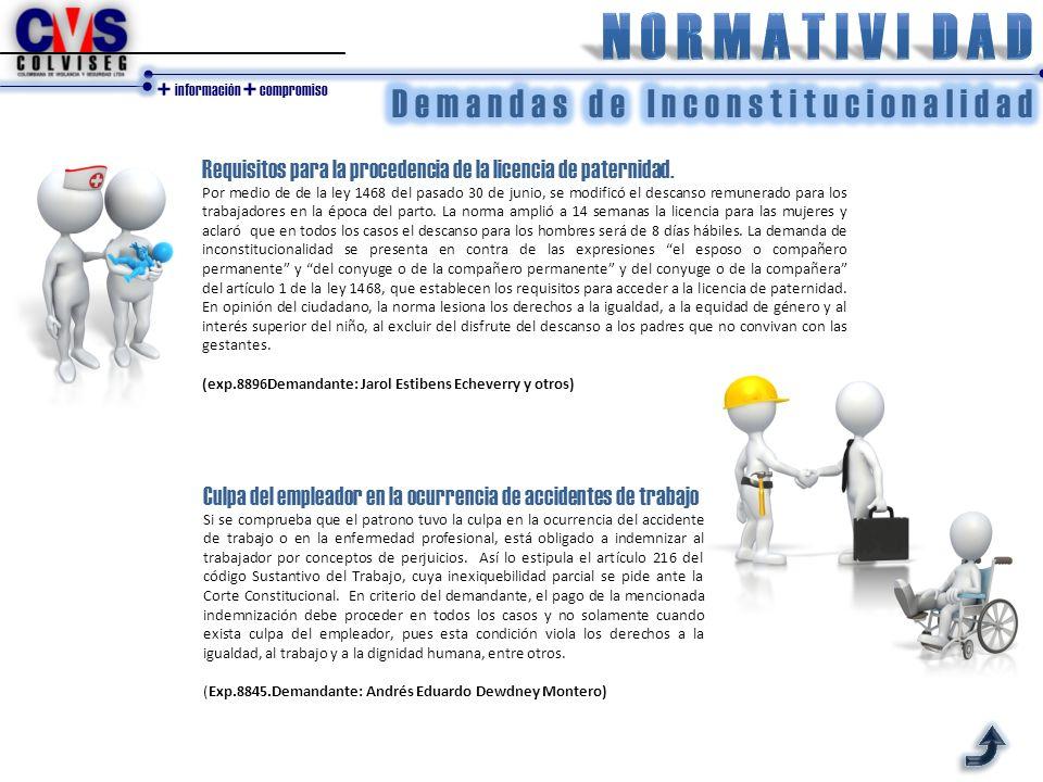 + información + compromiso Requisitos para la procedencia de la licencia de paternidad.