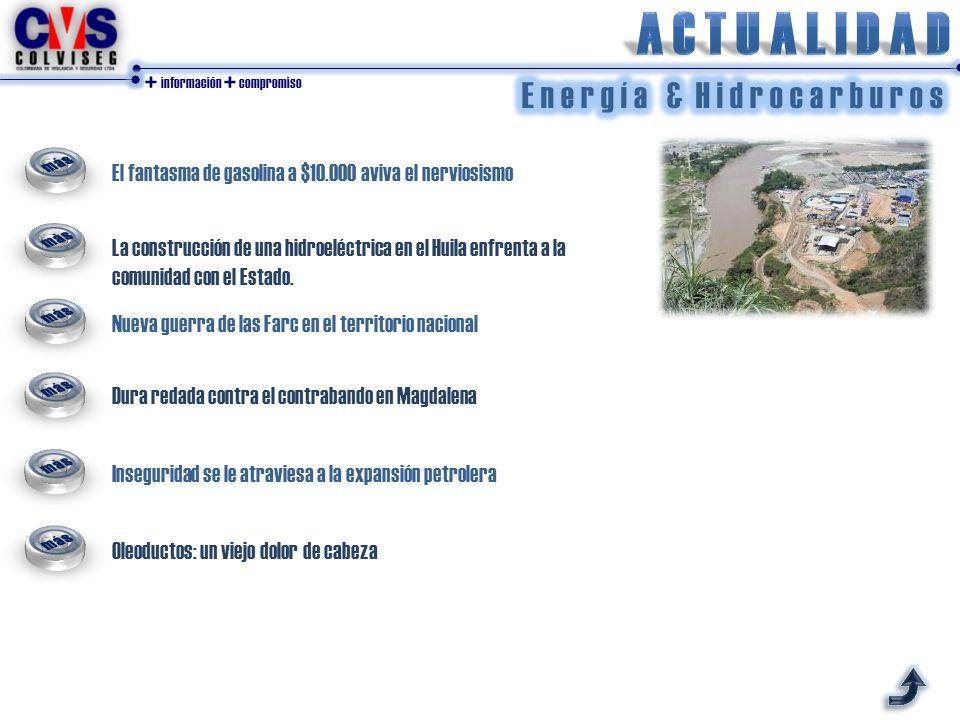 + información + compromiso El fantasma de gasolina a $10.000 aviva el nerviosismo La construcción de una hidroeléctrica en el Huila enfrenta a la comunidad con el Estado.