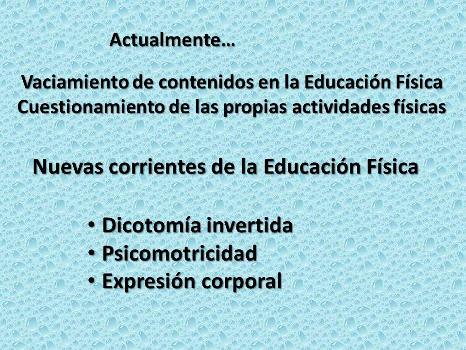 Nuevas corrientes de la Educación Física Dicotomía invertida Dicotomía invertida Psicomotricidad Psicomotricidad Expresión corporal Expresión corporal