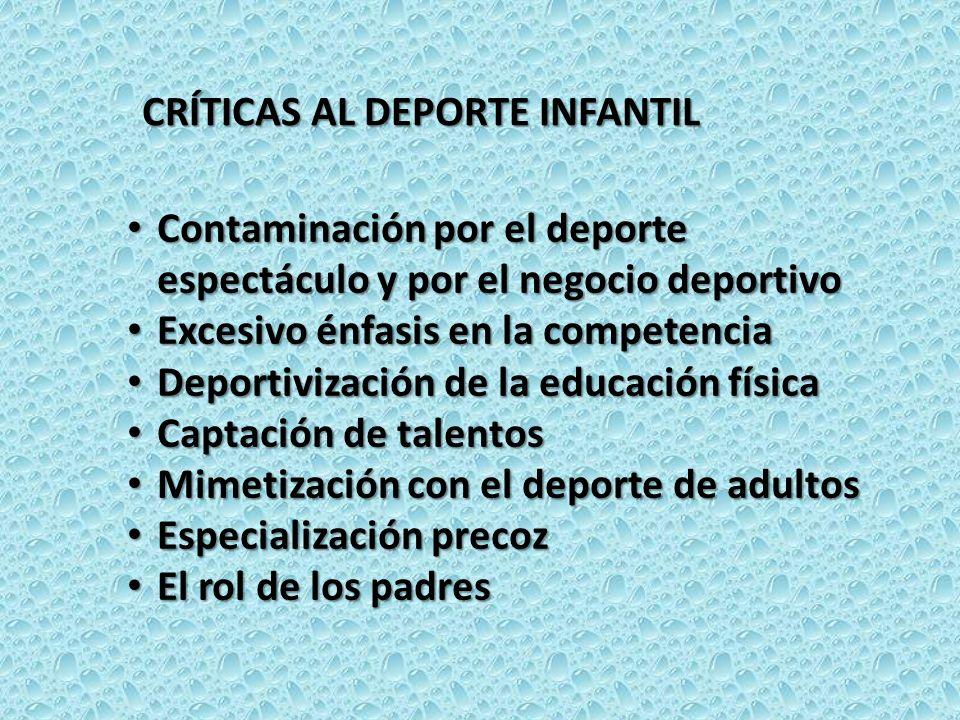 CRÍTICAS AL DEPORTE INFANTIL Contaminación por el deporte espectáculo y por el negocio deportivo Contaminación por el deporte espectáculo y por el neg