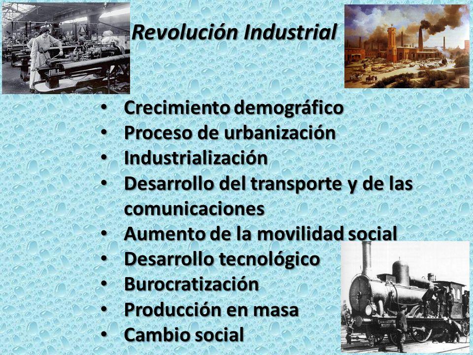 La Revolución Industrial Crecimiento demográfico Crecimiento demográfico Proceso de urbanización Proceso de urbanización Industrialización Industriali
