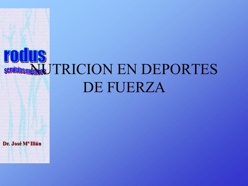 Dr. José Mª Illán NUTRICION EN DEPORTES DE FUERZA