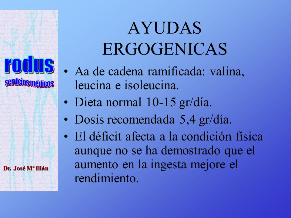 Dr.José Mª Illán AYUDAS ERGOGENICAS Aa de cadena ramificada: valina, leucina e isoleucina.