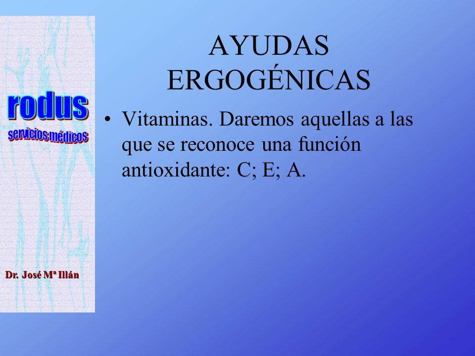 Dr.José Mª Illán AYUDAS ERGOGÉNICAS Vitaminas.