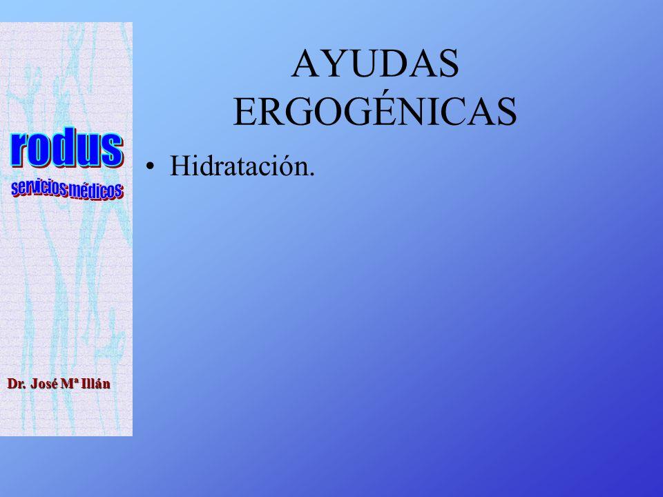 Dr. José Mª Illán AYUDAS ERGOGÉNICAS Hidratación.