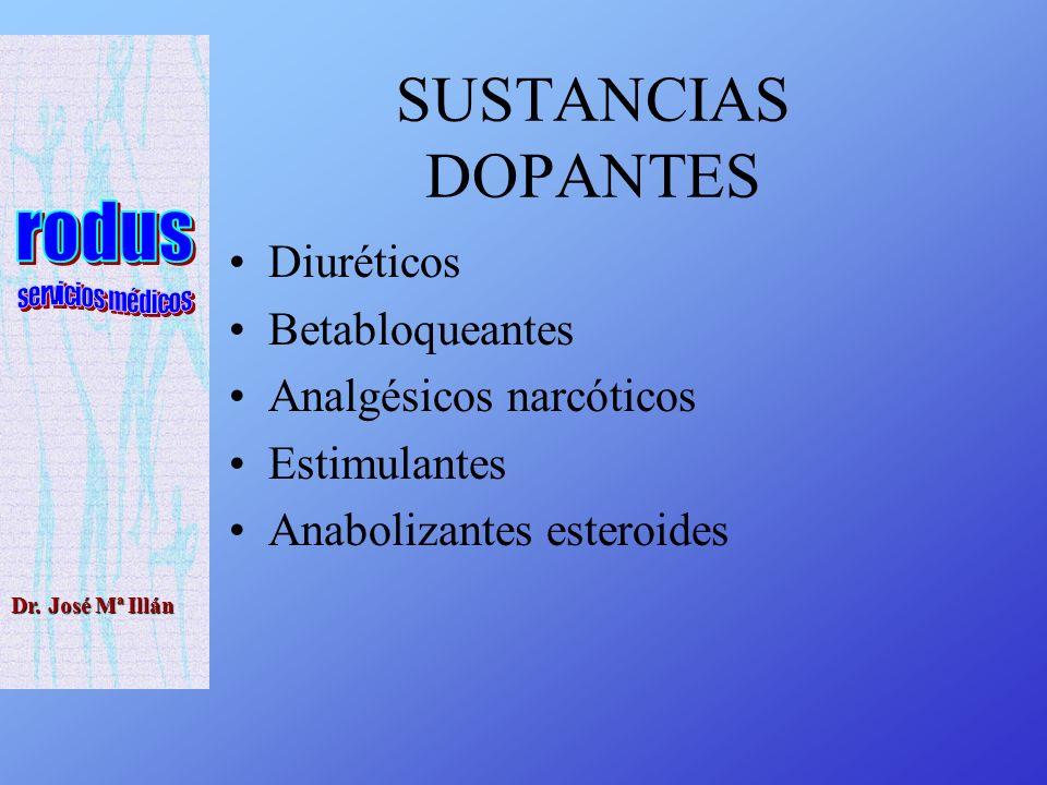Dr. José Mª Illán SUSTANCIAS DOPANTES Diuréticos Betabloqueantes Analgésicos narcóticos Estimulantes Anabolizantes esteroides