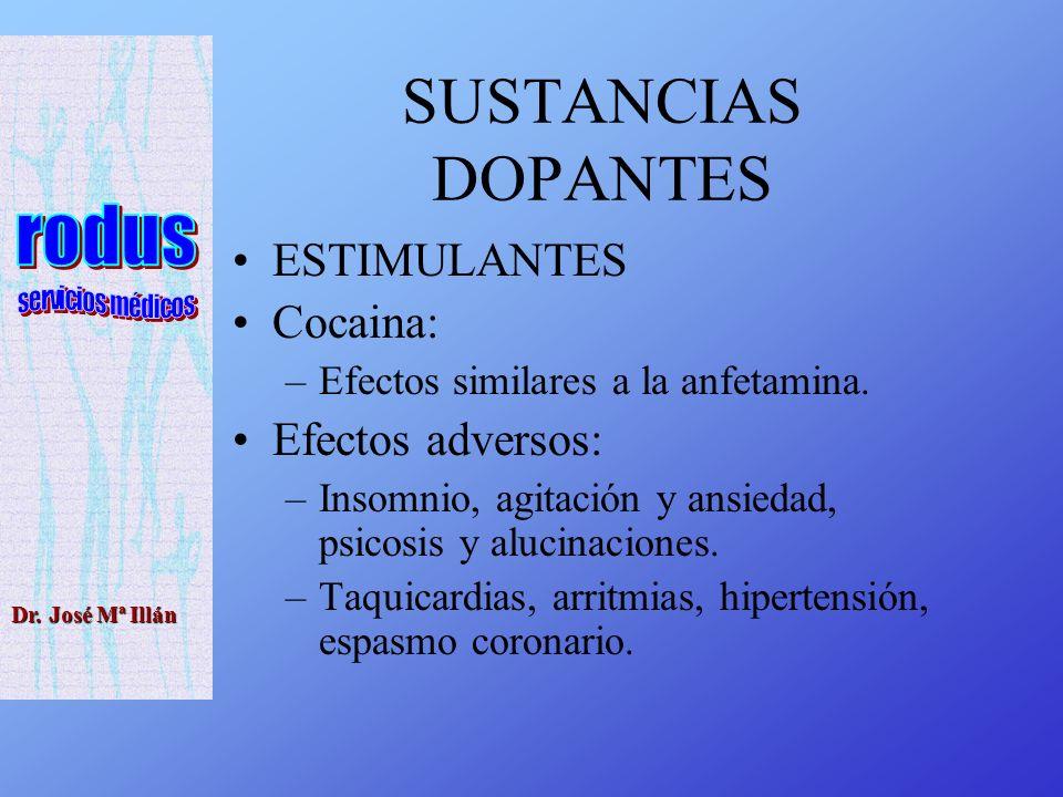 Dr.José Mª Illán SUSTANCIAS DOPANTES ESTIMULANTES Cocaina: –Efectos similares a la anfetamina.